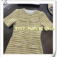 時尚E站【~SSEZ~】7710080122 時尚MAJ格紋編織單排扣圓領短袖裙 S M L