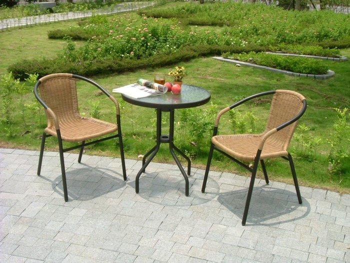 [兄弟牌庭園休閒傢俱]60cm黑色庭院圓桌+ 2 張PE藤椅(黑色或綠色)/組~1999元,餐椅,休閒椅直購免運費 !