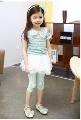 艾町Eyeing Shop 韓國品牌Kacakid   湖水綠款  春夏秋款蕾絲娃娃領純棉短T連身蓬蓬裙