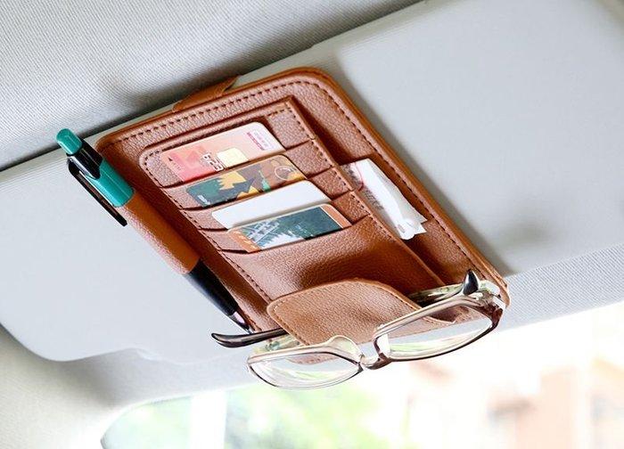 【雜貨鋪】橙色/PU皮 遮陽板 卡片夾 名片夾 眼鏡夾 收納包 車用卡片夾 筆夾 汽車置物夾 收納夾/30