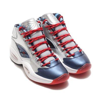 =CodE= REEBOK QUESTION MID HARDEN 皮革籃球鞋(銀藍白紅) FZ1366 IVERSON
