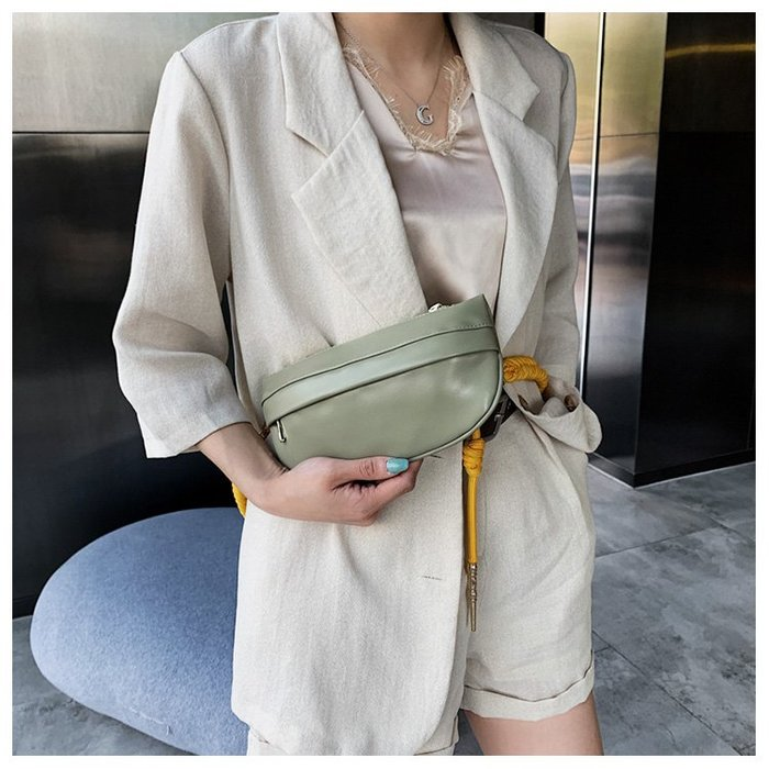 FINDSENSE X 韓國 女士 時尚撞色粗繩帶 小腰包 胸包 多功能 斜挎包 側背包 單肩包
