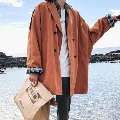 促銷款新品男士秋季中長版風衣夾克外套男寬鬆正韓秋裝潮流大衣春秋