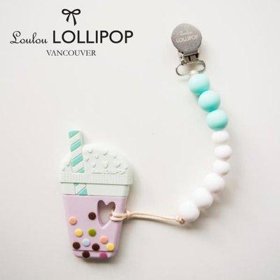 ♡NaNa Baby♡加拿大 Loulou lollipop 珍珠奶茶固齒器組/奶嘴鍊夾-夏日藍