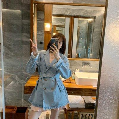 Imzzy韓國女裝舘張靜芝韓國東大門 洋氣韓范淺藍A字娃娃款雙排扣牛仔外套風衣
