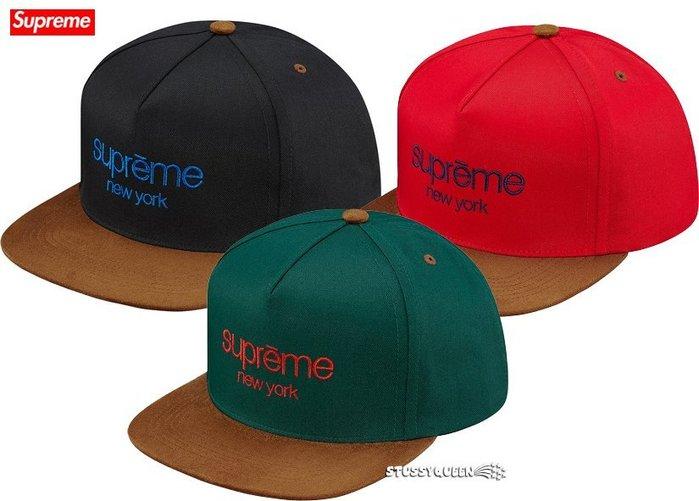 【超搶手】全新正品2015 秋冬Supreme Classic Logo Suede Visor 5 Panel 棒球帽