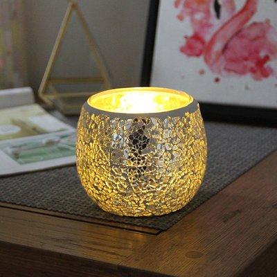 熱銷#簡約銀色月光馬賽克圓球玻璃燭臺candlemaker情人節禮物裝飾#燭臺#裝飾