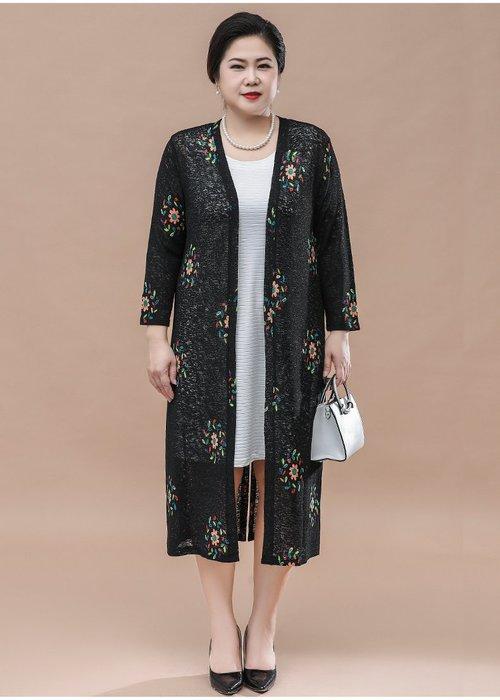 66953 黑色中長款V領針織衫均碼55-100公斤秋冬婆婆裝媽媽裝風衣女裝外套大尺碼大碼超大尺碼