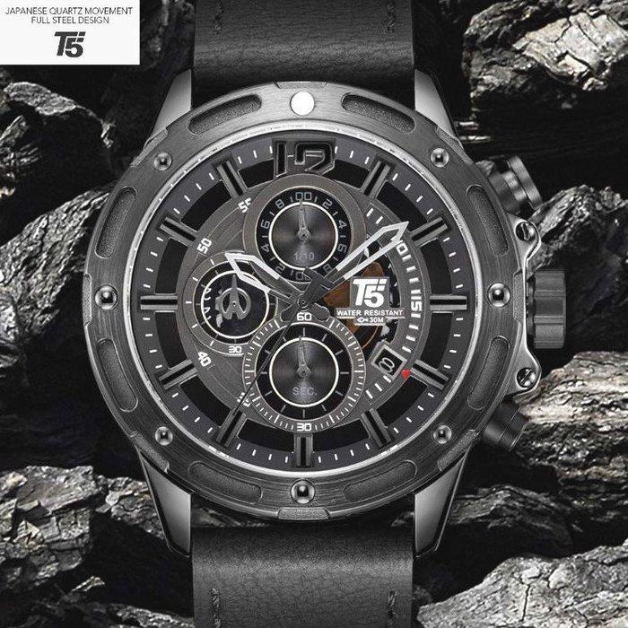 新款T5美國潮牌 創意賽車概念設計大錶盤 動感真三眼跑秒 個性帥氣百搭型男皮帶石英錶 生日送禮首選【S & C】