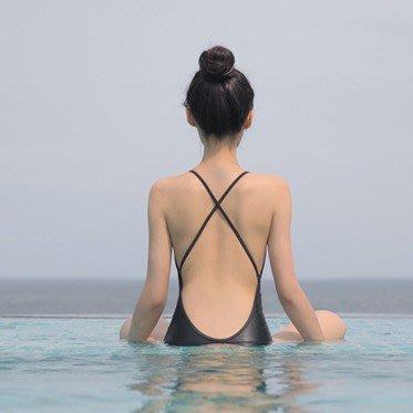 韓國正品泳衣~JOYOUS同款 夏季新款黑色顯瘦裸背性感連身黑色溫泉泳衣女