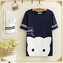 現貨【8414】短袖  日系森女系大貓咪印圖短袖上衣。☆*藍荳荳小舖*☆