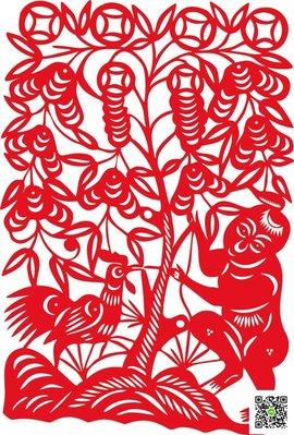 新年用品 水月鏡花 雞年招財樹貼紙農忙人物窗花貼紙民俗民間手工剪紙作品 玫瑰女孩