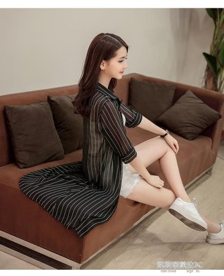 韓版夏季新款雪紡襯衫印花修身七分袖中長款防曬衣女568#