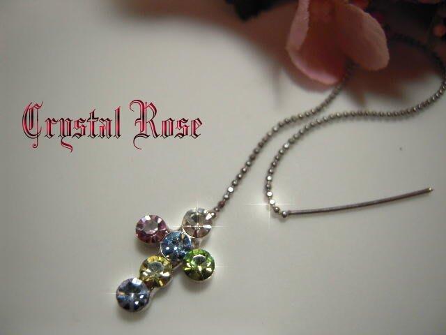 ※水晶玫瑰※ 水晶鑽 耳針式耳環(DD398)