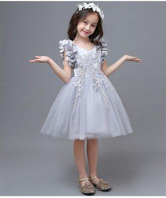 •*~ 辣媽咪衣飾小舖 ~*•❤童裝系列❤K970439韓版大童夏款甜美清新時尚蓬蓬花邊袖公主禮服公主洋裝