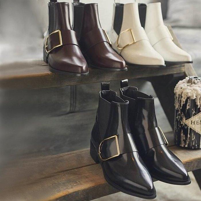 SeyeS {韓國空運} 個性英倫歐美時尚搖滾扣環真皮短靴