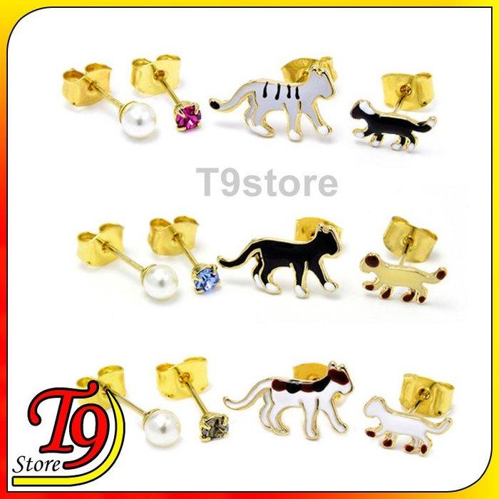 【T9store】韓國製 4件套步行貓貼耳式耳環