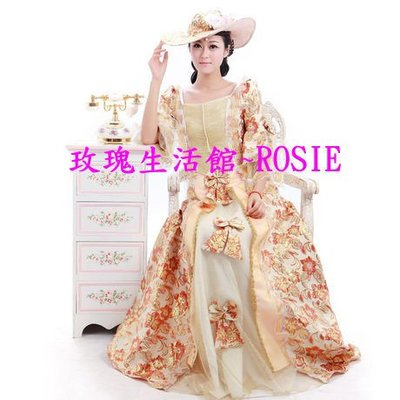 【玫瑰生活館】歐洲宮廷古典婚紗,歐洲貴族禮服, 粉,咖啡,綠,金,紅. 含帽