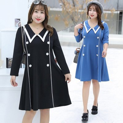 ✿plump girl 韓系✿大尺碼女裝文藝學院風連衣裙1463