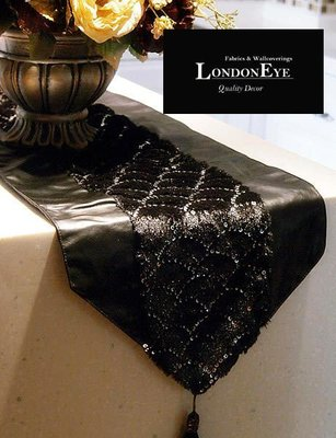 【 LondonEYE 】時尚低調奢華‧黑色仿皮面X黑絨X亮片長桌巾/桌旗/床旗  豪宅 實品屋 直購
