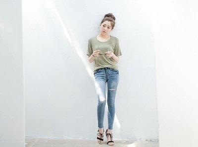 全新 轉賣 [Lemon Drop] 好彈性小破洞牛仔褲 窄管褲 牛仔褲 長褲 L 版型偏小適合平常穿S或M號