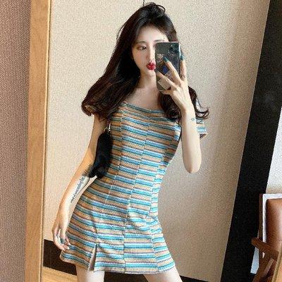 Solo sea全球購正韓女裝法式小眾連身裙桔梗復古女夏季新款可鹽可甜小個子性感彩條短裙子洋裝