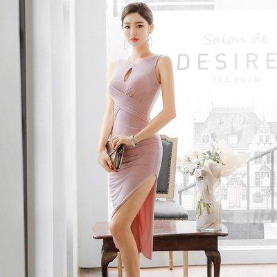 正韓 連身裙 名媛 上班族禮服 性感 露背連衣裙氣質 修身 中長款 包臀開叉不規則裙子女