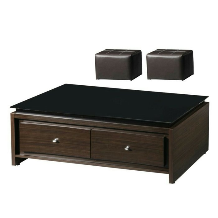 【優比傢俱生活館】19 達達購-木心板4.3尺二抽黑玻大茶几~含腳椅 KDY T-6029-1