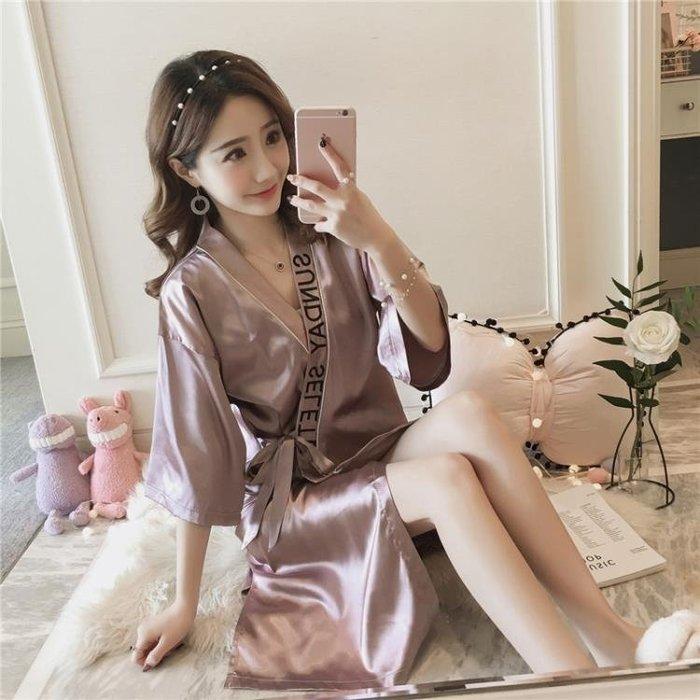浴袍 性感睡衣女夏季短袖日系復古系帶睡袍薄款冰絲綢中長款浴袍家居服