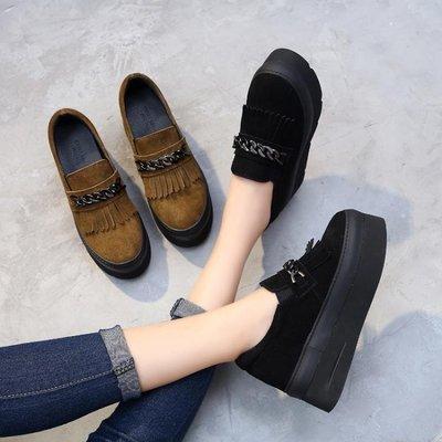 2018秋季新款韓版一腳蹬懶人女鞋內增高鬆糕厚底流蘇百搭真皮單鞋