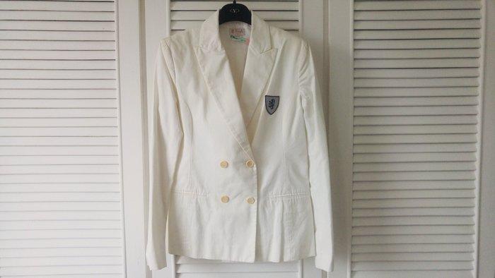 真品【Pringle】頂級金標淺淺米白學院風徽章西裝上衣原價$39800