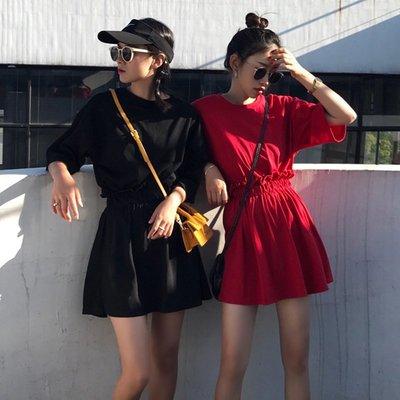矮個子搭配 嬌小顯高短裙套裝兩件套夏裝高腰女a型顯瘦小清新