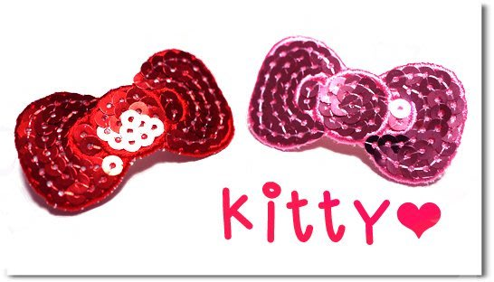 貝果貝果 韓國 Jill's Closet Hello Kitty 閃亮大蝴蝶結 塑膠髮夾 粉 / 紅 [K131]