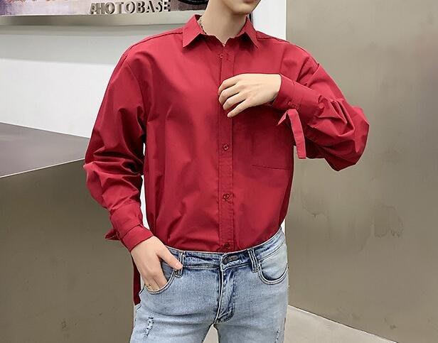 FINDSENSE 品牌 2019 春季 新款 寬鬆  潮流  個性 社會 男青年長袖 綁帶 免燙 襯衫 復古 氣質