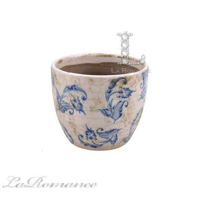【Creative Home】SOHO 簡約優雅系列藍白花卉陶瓷花盆 / 花器 / 置物筒