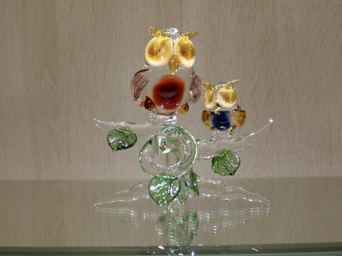 【藝晶香琉璃藝術工坊】手工琉璃貓頭鷹夫妻樹、擺飾、家居、文創、智慧