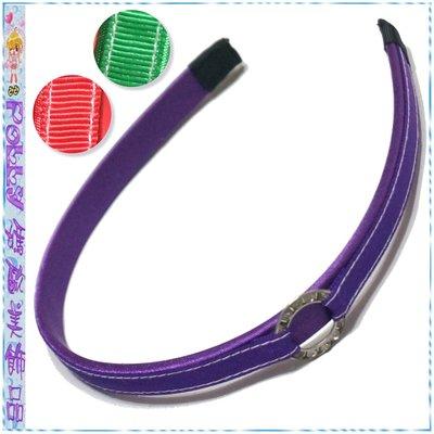 ☆POLLY媽☆歐美stylize側邊水鑽金屬環紅、綠、紫色羅緞絲緞窄版髮箍