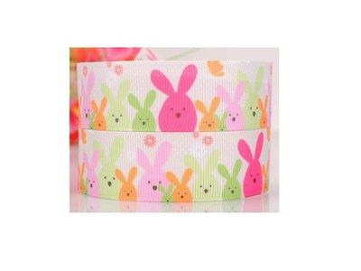 手作材料 手工 DIY材料 25mm  羅紋織帶 印刷羅紋段帶 織帶 緞帶 包裝 蝴蝶結 小兔