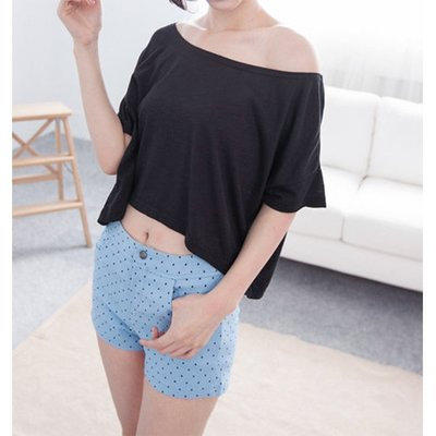 【Hao Da】全館399免運↘「M~XL。現貨」寬領竹節棉水洗短版上衣 (C1080)