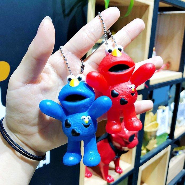 韓版卡通搪膠芝麻街公仔鑰匙扣女可愛艾摩甜餅怪情侶鑰匙鏈包掛飾卡通鑰匙圈掛飾百搭掛件飾品包包掛飾手機掛飾禮品