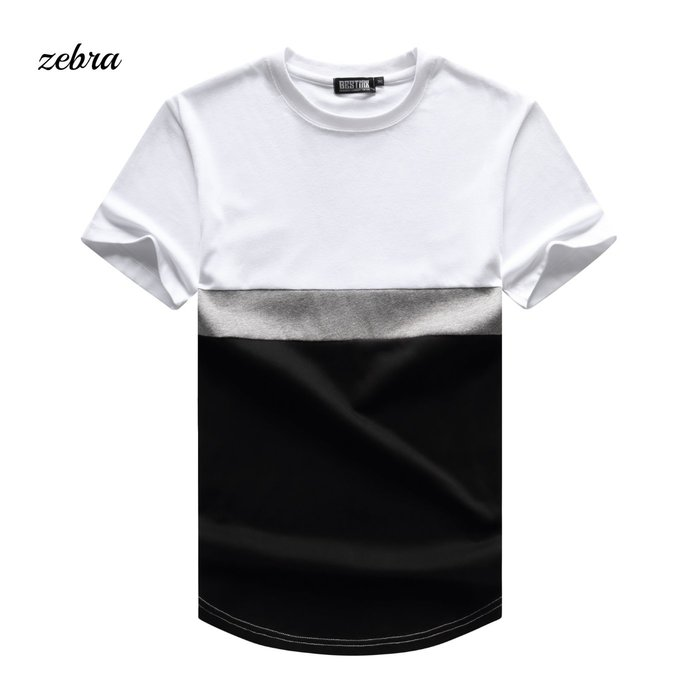 ZEBRA-【TJ5556】 3色 韓版 圓領 拼接  下擺 圓弧 設計 休閒短Tee M-XL 特價299元