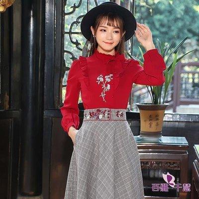 文藝復古繡花木耳邊長袖襯衣秋季新款紅色刺繡百搭打底衫上衣顯瘦【百雅女裝】