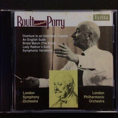 Parry派瑞-傳說中的悲劇序曲英國組曲/婚禮進行曲/交響變奏曲 Boult鮑爾特/指揮 Lyrita唱片英版無ifpi