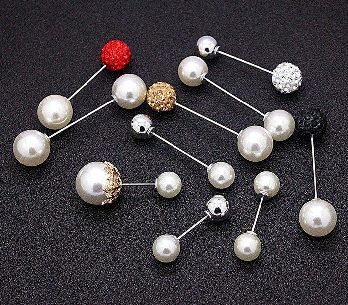 雜貨小鋪 時尚方便實用百搭美觀氣質雙頭珍珠一字插針胸針別針防走光配飾女