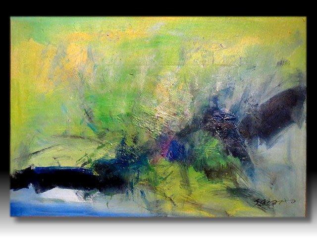 【 金王記拍寶網 】U1012  趙無極 款 抽象 手繪原作 油畫一張 罕見 稀少 藝術無價~