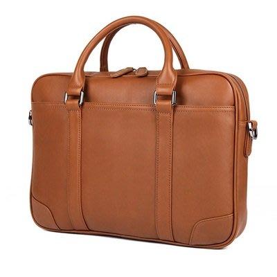 手提 包 真皮公事包-方型純色牛皮14吋男包包3色73ur31[獨家進口][米蘭精品]
