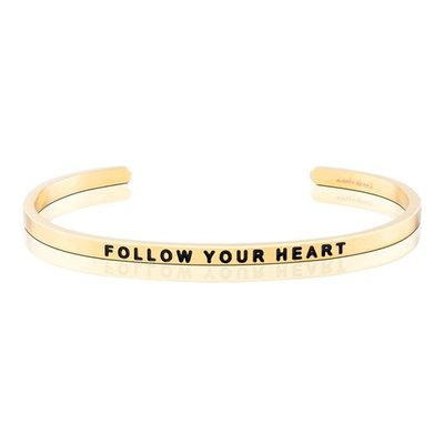 MANTRABAND 美美國悄悄話手環 Follow Your Heart 隨心所欲 金色手環