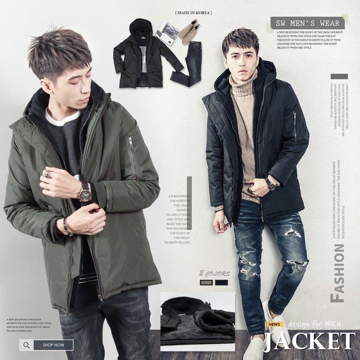。SW。【K71323】正韓BF 韓國製 禦寒保暖鋪棉 質感厚防風布 螺紋 口袋 雙層拉鍊 雙層連帽MA1大衣外套 GD