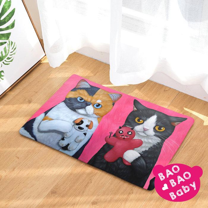 【寶貝日雜包】貓咪夫妻的遊戲法蘭絨毛踏墊 貓咪地墊  地毯 防滑地墊 臥室地毯 防滑墊 浴室吸水踏墊 腳踏墊