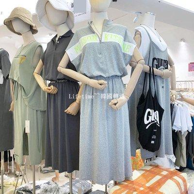 Lifetime~~韓國專櫃韓國2019夏季潮流撞色字母印花立領收腰顯瘦運動風過膝連身裙子洋裝洋裝女